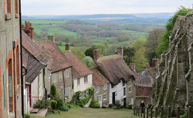 Residential properties on Gold Hill in Shaftesbury